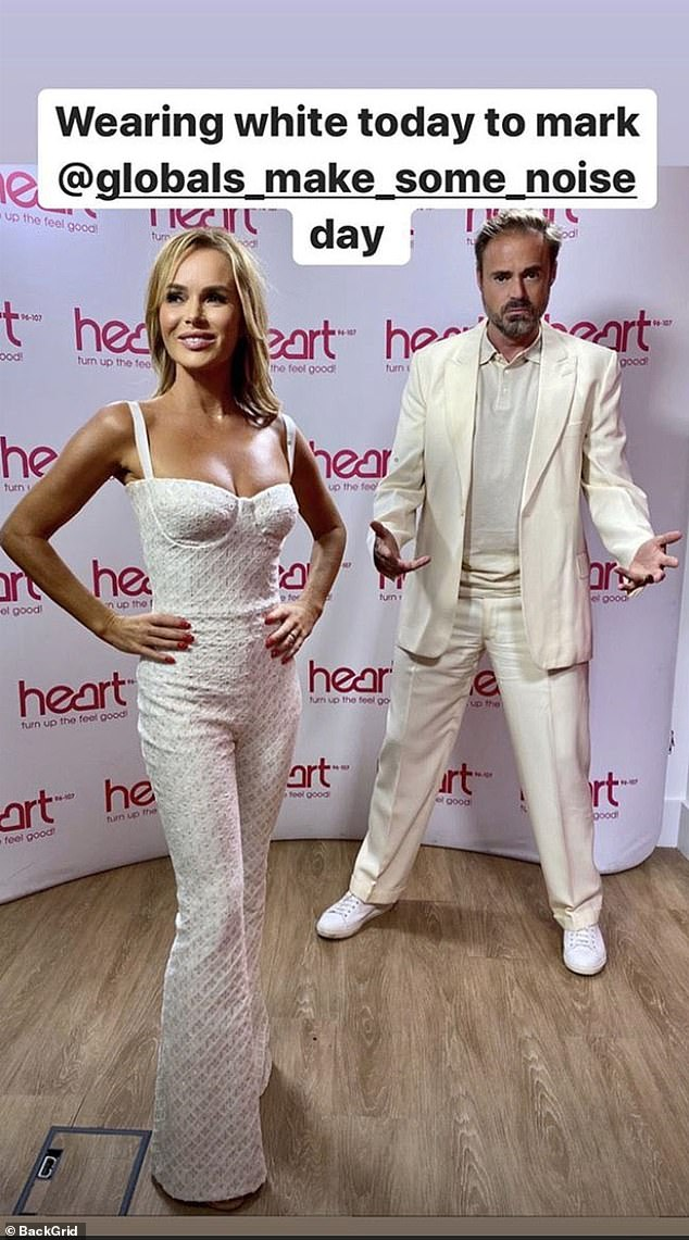 Mirror, mirror: Amanda and Jamie Theakston wore it matching sets to promote good cause