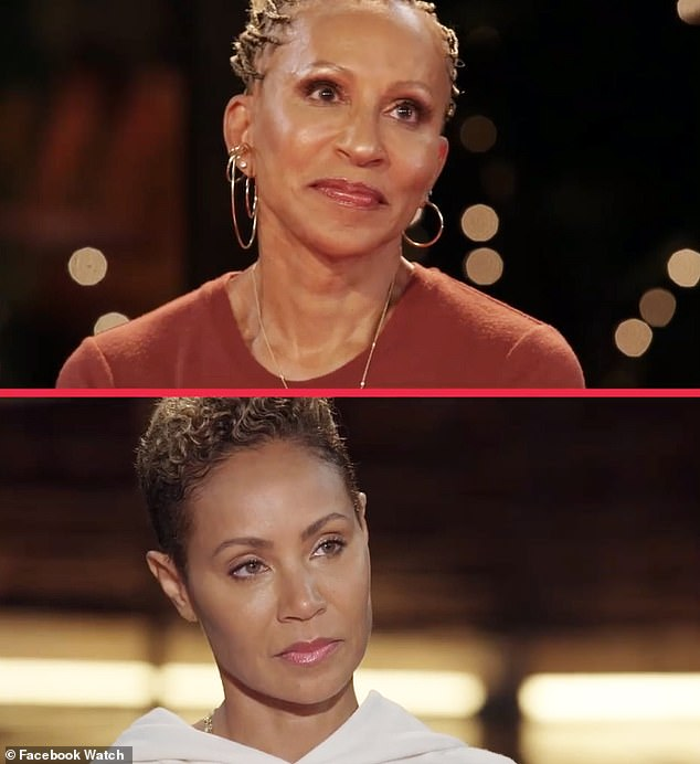 Family business: She made the remarks on her Facebook Shows that she hosts with her mother Jada Pinkett Smith (at the bottom) and the grand-mother Adrienne Banfield-Norris (top)