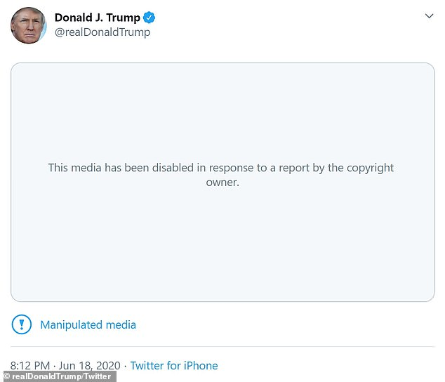 Twitter was quick to remove the doctored clip of a viral video that was posted by President Trump after the owner claimed copyright infringement