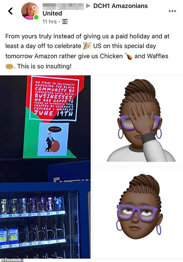 Amazon worker at the Chicago warehouse posted a picture of the signage to tell employees why they chose the special of chicken and waffles restaurant catering