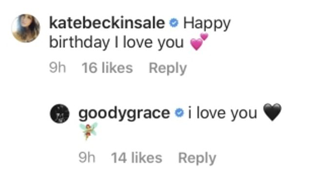 In love: Beckinsale also took to Goody's Instagram page to wish him a Happy Birthday and to publicly declare her 'love' for him