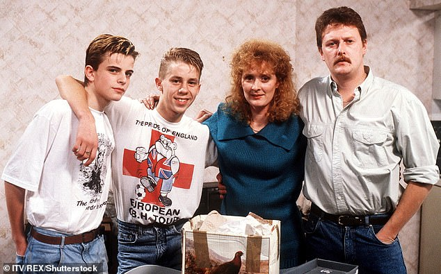 Veteran: Simon has played lothario Steve McDonald on Coronation Street for decades. Pictured with co-stars (L-R) Nicholas Cochrane, Beverley Callar, and Charles Lawson in 1989