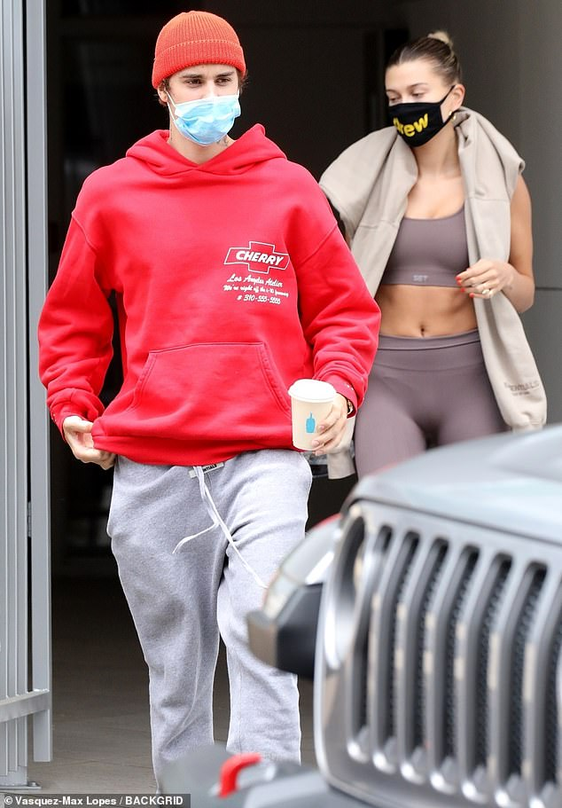 Dynamic duo: All eyes were on Justin Bieber's wife Hailey, as the loved-up pair enjoyed a coffee date in Los Angeles on Friday