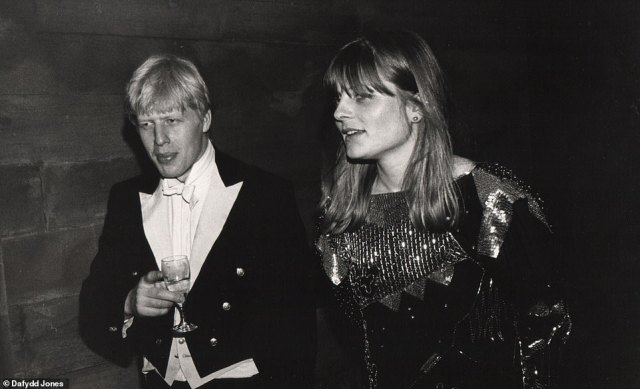 Young love: Boris with future wife Allegra Mostyn-Owen at the Christchurch Ball in 1987
