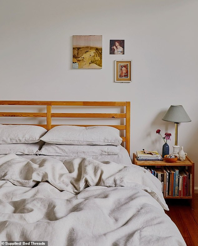 'The bed frame, mattress and pillows should all be switched out for high quality, non-toxic alternatives where possible,' Genevieve said of the bedroom (pictured)