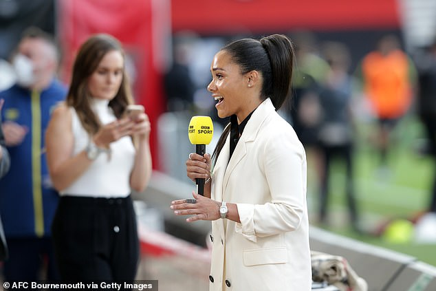 Alex Scott photo in full action, during his punditry work on Bournemouth vs Crystal Palace