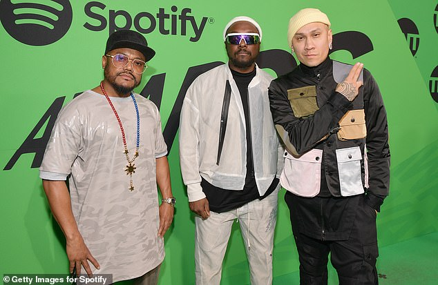 'Fergie is our sister,' added Black Eyed Peas longtime drummer Apl.de.ap (left, seen with Peas bandmates Will.I.Am and Taboo, in March)