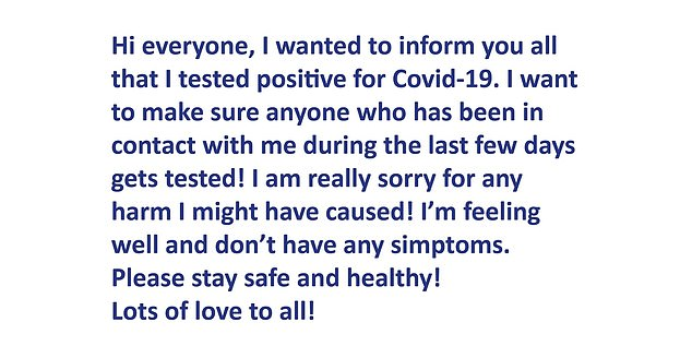 Croatian star Coric released this statement on social media after testing positive for the virus