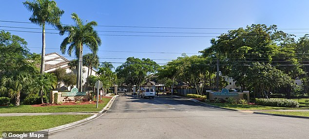 The shooting took place at Palm Aire Gardens North (pictured) in Pompano Beach, Florida