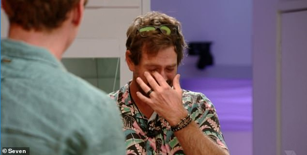 Sob fest: Dinner turned into a sob fest when Tweed Heads marriage celebrant Shane returned from the diary room holding a box of letters from family members, tears in his eyes