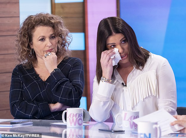 Overwhelmed with emotion: In February, Rebekah emotionally revealed on Loose Women that she was hospitalised 'three times' over the impact of her feud with Coleen