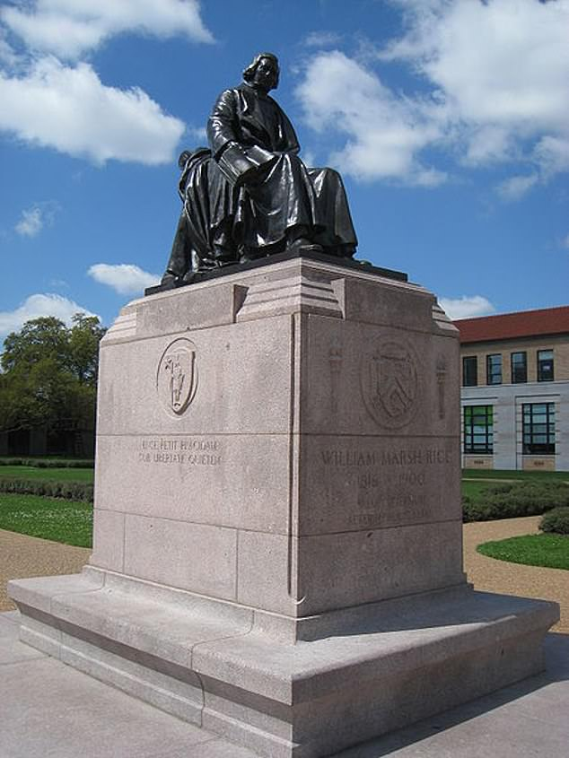The group are seeking the 'removal' of a statue of the university's founder, William Marsh Rice, a slave owner and businessman who left the bulk of his estate to help build the university on the grounds it would be for 'whites only'