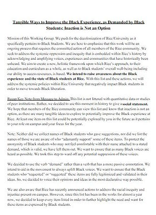 A more comprehensive list of the group's demands was posted to the Rice Black Student Association's Instagram page which, in part, was titled 'Inaction is not an option'.