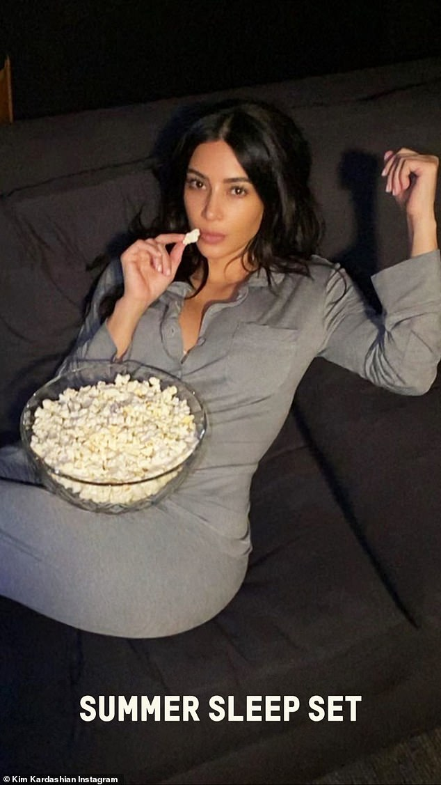 Vibes:Another image showed Kim eating popcorn in the Summer Sleep Set, which retails for $118