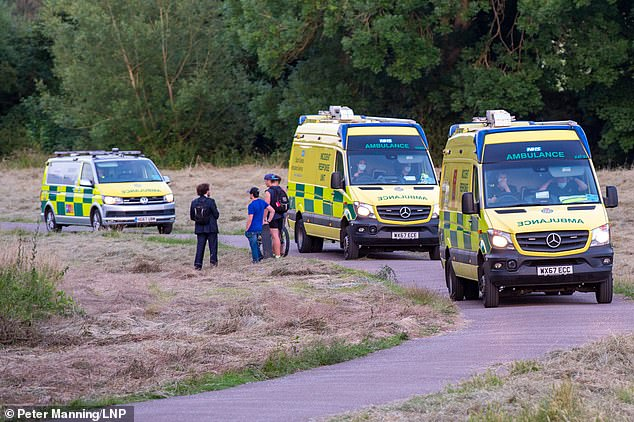 Emergency services rushed to Odney Weir by the village of Cookham, Berkshire yesterday