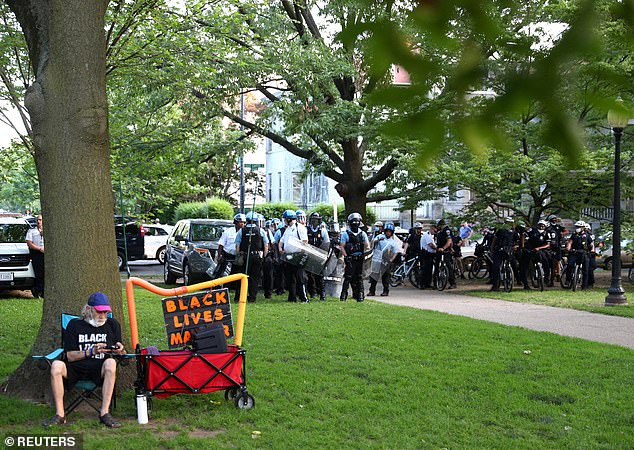 Police in riot gear were seen gathered near the Lincoln statue protest Tuesday