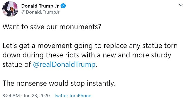 Donald Trump has called for statues pulled down across America to be replaced by a