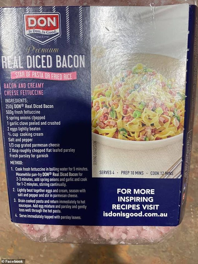 Liz posted on Facebook, where she said she found the recipe on the back of a packet of 'Don' bacon, and she tried is last weekend (pictured)
