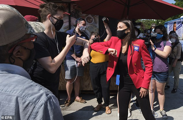 Democratic Congress Alexandria Ocasio-Cortez to speak with voters, ahead of the New York primary Tuesday. It has easily beaten his rival with 70% of the vote
