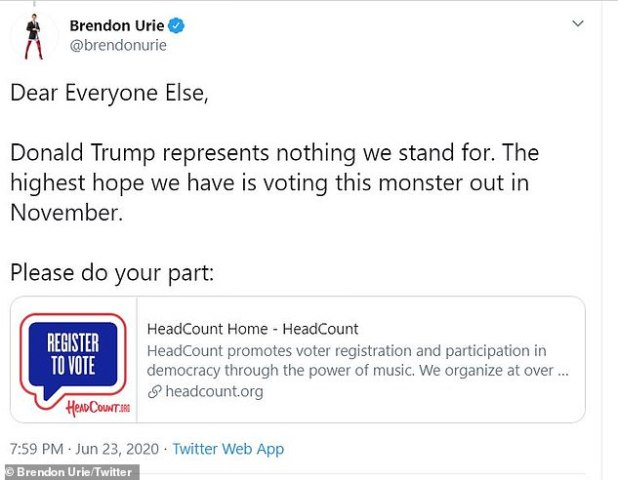 'Please do your part': Urie then urged her 6.6 million followers on social media to register to vote to help get this monster out. [of office] in November'