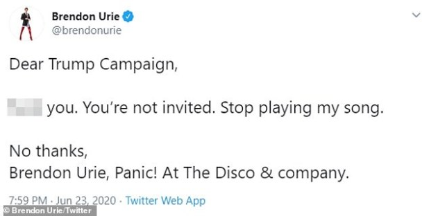The 33-year-old pansexual pop star tweeted, 'Dear Trump campaign, F *** you.  You are not invited.  Stop playing my song ... Donald Trump doesn't represent anything we represent '