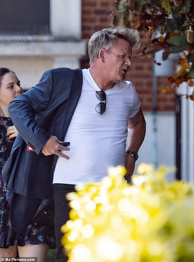 Oh no: Gordon Ramsay was seen for the first time in London on Tuesday, since his return to the capital after his controversial Cornish lockdown