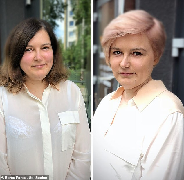 Jurgita said cutting hair was not just about trimming, but bringing her client's personality to the forefront. She transformed this client's hair from mousy brown to pale pink, and gave her a much shorter crop