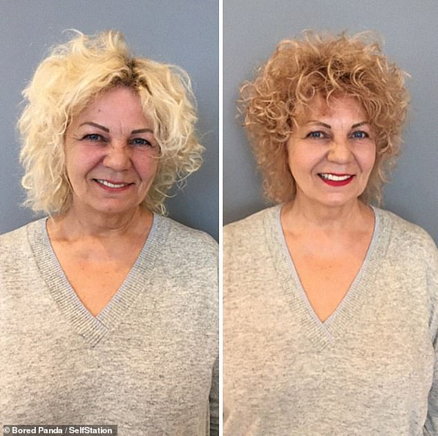 Jurgita said she likes to see her clients make-up free to see their natural features, so that she knows how best to accentuate them. This woman looks younger thanks to a darker shade of strawberry blonde