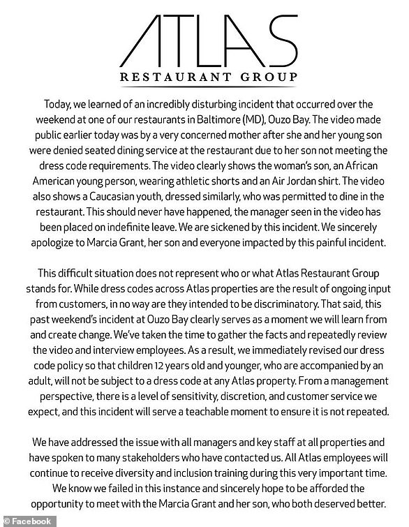 Atlas Restaurant Group released this statement on Monday night after the video began circulating online.