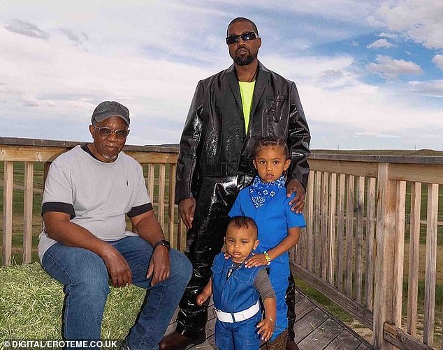 The West's:She also shared a snap of Kanye with his sons Saint and Psalm and his father Ray West