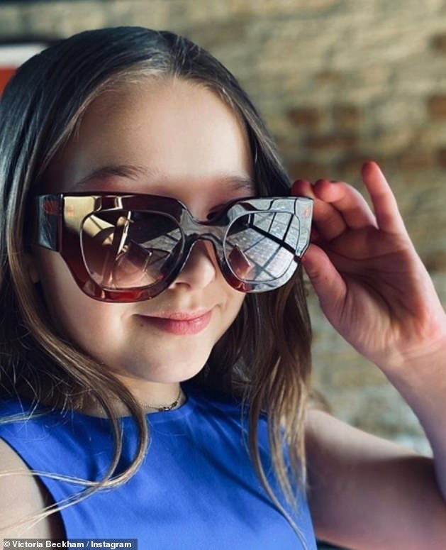 Adorable: Victoria has revealed that her daughter, Harper, eight years old, is recovering also in the spirit by laying on Saturday in a pair of sunglasses oversized of his mother