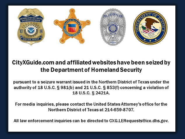 The website has since been seized by the U.S Department of Homeland Security