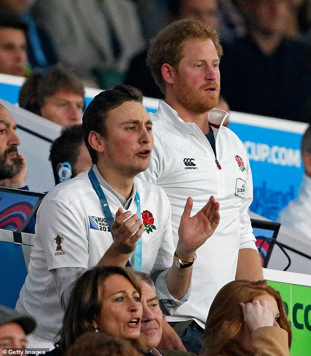 The video comes days after it emerged that Prince Harry has backed the moves to ban Swing Low, Sweet Chariot from rugby games due to its association with slavery (pictured in 2015 at the Rugby World Cup)