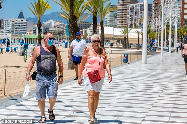 Britons began to arrive in Benidorm, Spain on Monday as coronavirus restrictions were eased