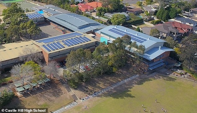 The dangerous material was found at Castle Hill High School (pictured) during a roof cavity inspection by the NSW Education Department earlier this year