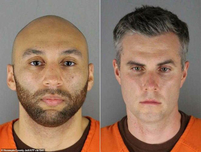 Rookie officers J. Alexander Keung (left) and Thomas Lane (right) were also involved in the arrest. Lanehad asked Chauvin if he should roll Floyd onto his side to help him breathe better. Chauvin replied 'No. Staying put where we got him'