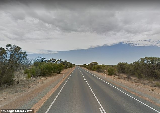 The nugget was in a black velvet bag while and fell from the 83-year-old owner's vehicle on Tuesday while he travelled along the Great Northern Highway in Wubin (pictured)
