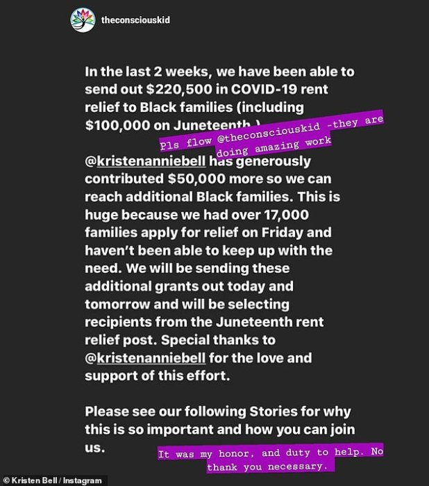 Generous: Bell later donated $ 50,000 to reach 'additional black families' to The Conscious Kid