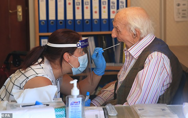 Around 10,000 care home residents and staff will have regular swab tests (pictured) over the next four months, and then blood tests over an 18-month period to see if they have had the coronavirus in the past