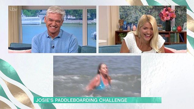Entertainment: This Morning hosts Phillip Schofield and Holly Willoughby were in hysterics as they watched Josie tumble from the safety of the ITV studio