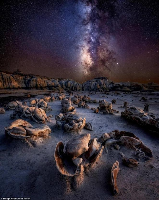 Alien Eggs' by Debbie Heyer.Badlands of New Mexico, US, which is full of mysterious eroding rocks. This shot, reminiscent of a scene fromRidley Scott's 1979 cinematic masterpiece Alien, was taken in October 2019 on a two-week photo tour through the Southwest of the US.Heyer said: 'The Badlands of New Mexico are otherworldly and mysterious. They resemble an alien planet. If you don't believe in aliens, you will after seeing this place. This is not an easy terrain to navigate, and it is very easy to get lost'
