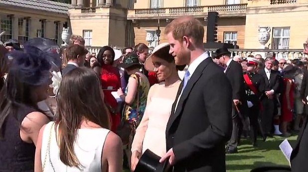 In the clip, the duo seemed relaxed and engaged as they spoke to a group of attendees in the palace gardens.