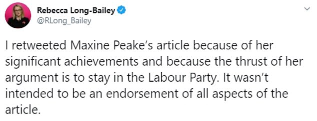 Ms Long-Baiey described the left-wing star as a 'diamond', before later trying to clarify that she had not been endorsing all the content of the article