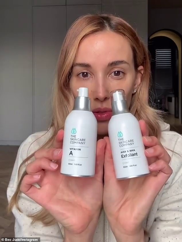 'Back up clinic treatments with great skincare': After that, Rebecca alternates every other night with a $125 AHA 'exfoliant' serum and a Vitamin A retinol serum worth $125 from the same brand