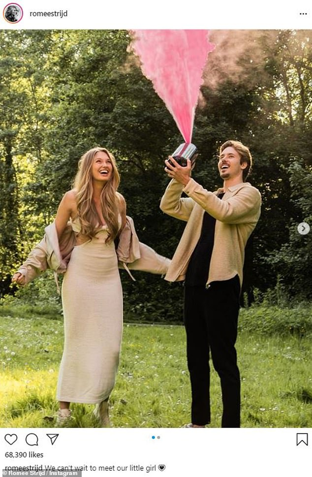 'We can't wait': On Sunday, Romee and her Laurens van Leeuwen revealed they were expecting a little girl as their first child