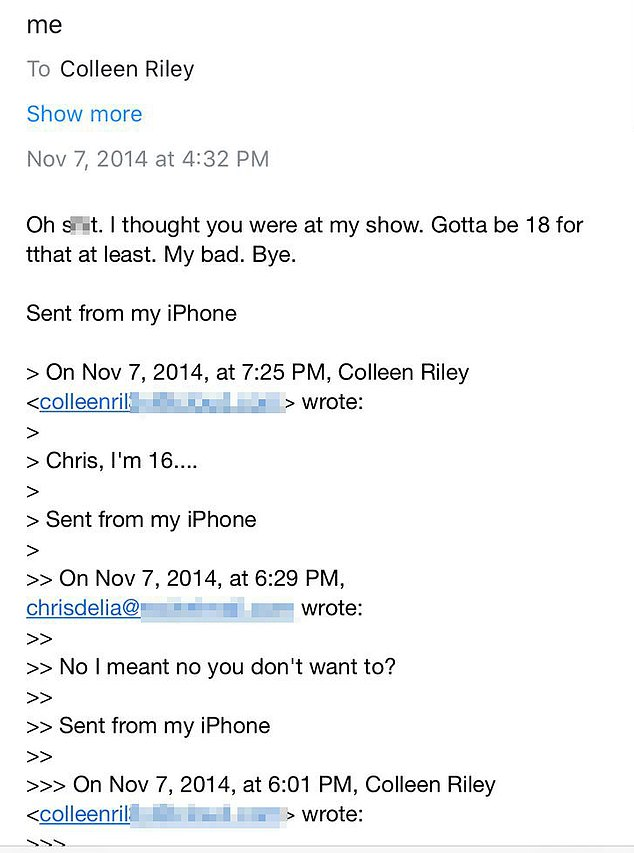 This is the exchange between D'Elia and Riley in November 2014. He asked her to visit him