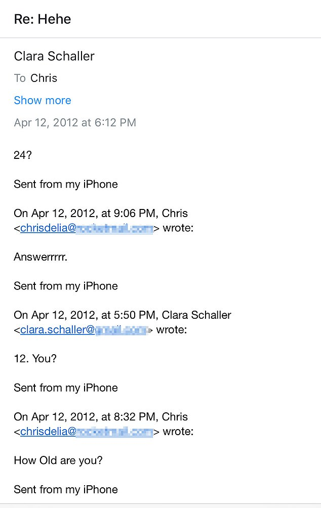 D'Elia asked Clara Schaller how old she was more than once when they exchanged emails in 2012