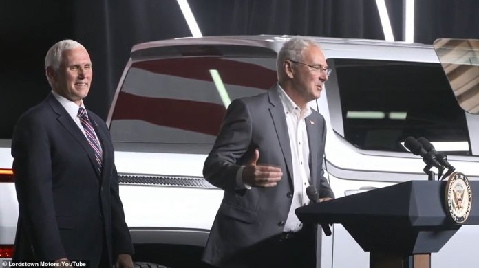 Lordstown CEO Steve Burns presents Pence at the event. Lordstown hopes to be the first electric pickup on the market