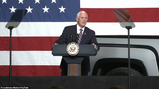 'It's a nice ride, and I'm a truck guy,' Pence commented as he took the podium