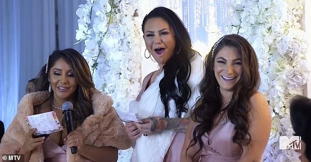 Wedding speech:'Angelina, you're the lice to my hair,' Deena said as the speech began, to which Nicole added, 'You're the fly to my s***,' and Jenni continued, 'You are the trash to our bags'